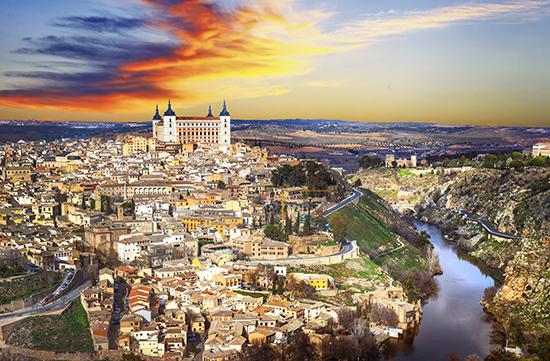 beautiful sunset over old Toledo, Spain
