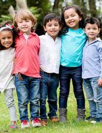 Happy group of children